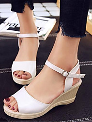 Women's Shoes Glitter / Leatherette Wedge Heel Wedges Sandals Office & Career / Dress / Casual Blue / Pink / White