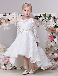 A-line Asymmetrical Flower Girl Dress - Lace Long Sleeve Jewel with