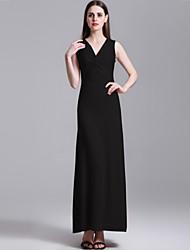 Women's Sexy Solid Sheath Dress , V Neck Maxi Polyester