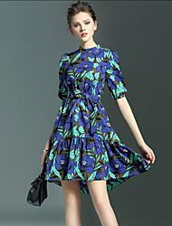 Women's Sexy Sheath / Swing Dress,Floral Crew Neck Asymmetrical ½ Length Sleeve Multi-color Polyester All Seasons