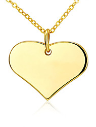 Simple Korean-style Women's Heart Pendant Necklace 18K Gold Plated Fine Necklace Jewelry(Color:Gold)