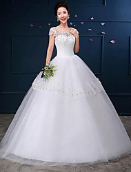 A-line Wedding Dress Floor-length Scoop Lace / Satin with Appliques / Lace / Pattern
