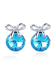 Austria Crystal Stud Earrings for Women Bow Earrings Fashion Jewelry Accessories