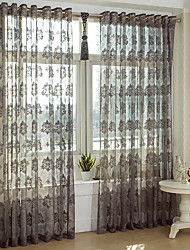 Two Panels Country Coffee Living Room Polyester Sheer Curtains Shades