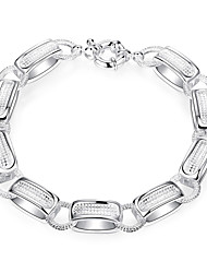 Lureme® Classic Style Silver Plated Jewelry Geometry Charm Bracelets for Women
