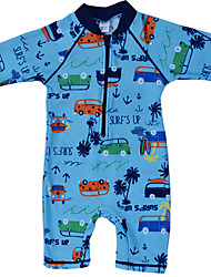 Baby Girl's 1pc Car Pattern UV Protection Sunsuit from Sunshine Swimsuit Beach Surfing Rash Guards Clothing for 3~9Y