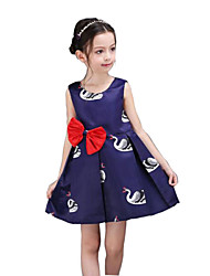 Girl's Purple Dress,Bow Rayon Summer / Spring / Fall