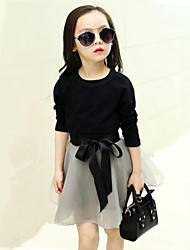 Girl's Floral Clothing Set,Cotton / Polyester Spring / Fall Black