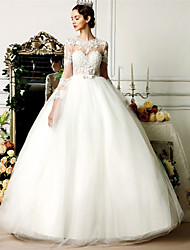 Ball Gown Wedding Dress See-Through Floor-length Jewel Tulle with Beading Bow Lace