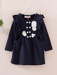 Girl's Blue Dress , Ruffle Cotton Spring / Fall