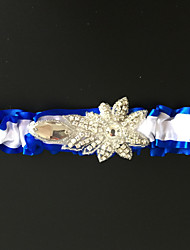 Garter Stretch Satin Rhinestone Blue