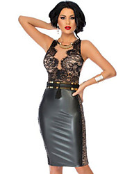 Women's  Black Bodycon Leather Dress with Lace Nude Illusion Top