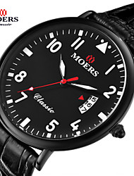 Men's Fashion Watch Quartz Japanese Quartz Leather Band Black