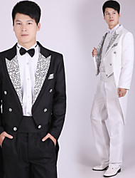 Suits Tailored Fit Notch Double Breasted Six-buttons Polyester Patterns 4 Pieces Black / White / Silver