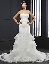 Trumpet / Mermaid Wedding Dress Chapel Train Strapless Lace with Sash / Ribbon