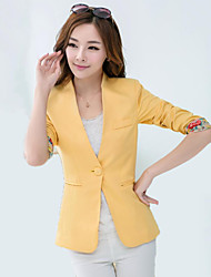 Women's Solid Blue / Pink / Green / Yellow Blazer , Work / Casual / Day V Neck Long Sleeve