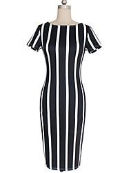 De las mujeres Tallas Grandes / Corte Bodycon Vestido Vintage / Casual A Rayas Hasta la Rodilla Escote Redondo Algodón / Poliéster