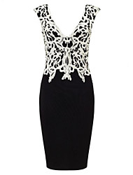 Women's Sexy V Neck Lace Short Dress Patchwork Sheath / Lace Dress Above Knee Cotton / Acrylic / Spandex
