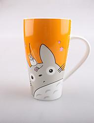 6 inch Japanese Cartoon Totoro Cup Ceramic Mug with Lid (Random Color)