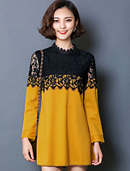 Women's Long Sleeve Plus Size Lace Splicing Dresses