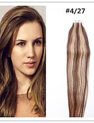 # 4/27 ruban adhésif double étiré dans les extensions de cheveux 100% cheveux remy indiens noir brun blond pu trame de peau de promotion