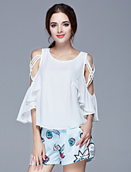 Women's Casual/Daily Cute Summer Wrap,Solid Round Neck ½ Length Sleeve White Silk / Spandex Thin
