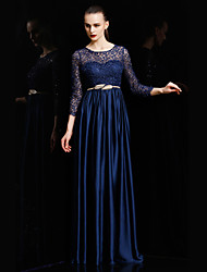 Formal Evening Dress Ball Gown Jewel Floor-length Lace / Charmeuse