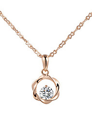 Concise 18k Rose Gold Plated Clear Simulated Diamond Crystal Wind Wheel Pendant Necklace
