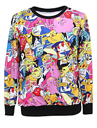 Women's Print Multi-color Hoodies , Casual / Day Round Neck Long Sleeve
