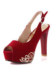 Feminino-Saltos-Plataforma Conforto Sapatos clube Light Up Shoes-Salto Agulha Plataforma-Preto Azul Vermelho Bege-Flanelado-Casamento
