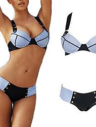 Damen Bikinis  -  Einfarbig Push-Up / Gepolsterte BHs Nylon / Elasthan Bandeau