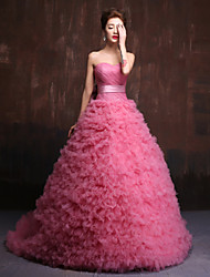 Ball Gown Sweetheart Chapel Train Charmeuse Formal Evening Dress with Flower(s) Sash / Ribbon by HUA XI REN JIAO