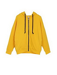 Women's Solid Blue / Yellow Jackets , Simple Round Neck Long Sleeve