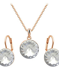 HKTC Women's Round Clear Crystal CZ DiamondPendant Necklace and Dangle Earrings Jewelry Set