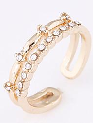 Women's New Fashion Simple Sweet Shiny Rhinestone Adjustable Ring