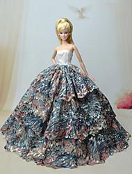 Fiesta y Noche Vestidos por Muñeca Barbie Rojo / Azul Vestidos