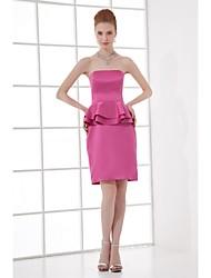 Short / Mini Stretch Satin Bridesmaid Dress Sheath / Column Strapless with