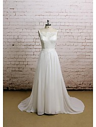 A-line Wedding Dress Chapel Train Scalloped-Edge Chiffon / Satin with Appliques
