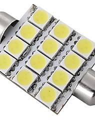 carro cúpula branca 12 LED 5050 SMD 42 milímetros interior lâmpada (2 peças)