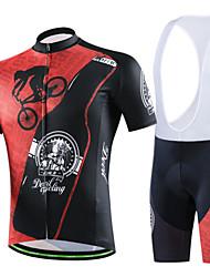 CHEJI® Fahrradtrikot mit Trägerhosen Damen / Herrn / Unisex Kurze Ärmel FahhradAtmungsaktiv / Rasche Trocknung / tragbar /