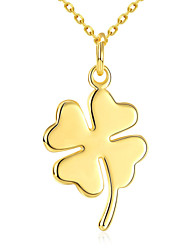 Romantic Clover Love Pendent Necklace Women's Gold Plated Chain Necklace Gift for Girls(Color:Gold)