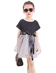 Girl's Black Dress , Lace Cotton / Polyester Summer