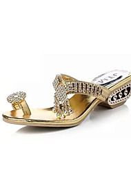 Zapatos de mujer-Tacón Robusto-Punta Abierta / Zapatillas-Sandalias-Oficina y Trabajo / Vestido / Casual / Fiesta y Noche-Semicuero-Negro