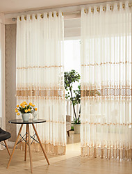 Two Panels Designer Living Room Polyester Sheer Curtains Shades