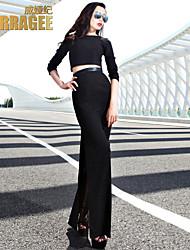 Damen Kleid - Zweiteiler Party / Einfach Solide Maxi Polyester Rundhalsausschnitt