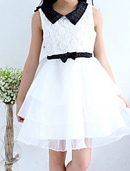 Girl's White Dress,Lace Cotton Summer / Spring