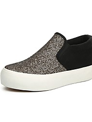 Women's Shoes Canvas Platform Creepers / Comfort / Round Toe Loafers / Slip-on Outdoor / Casual Black / Silver / Gold