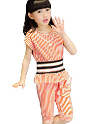Girl's Black / Red Clothing Set Cotton Summer