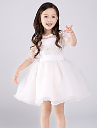 A-line Short / Mini Flower Girl Dress - Lace / Tulle Half Sleeve Jewel with