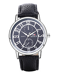 Men's Dress Watch Fashion Watch Quartz / Leather Band Vintage Casual Black White Brown Brand